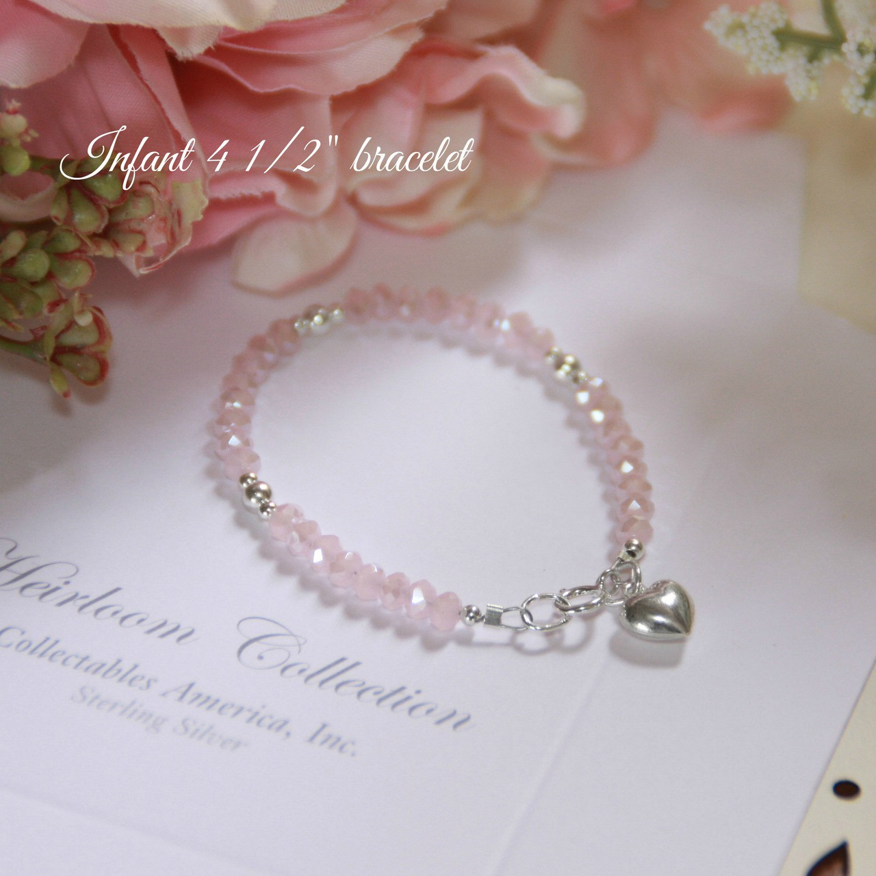 "STG-23HT  Matte Pink Crystals and Sterling Silver Puff Heart 4 1/2"" Bracelet"