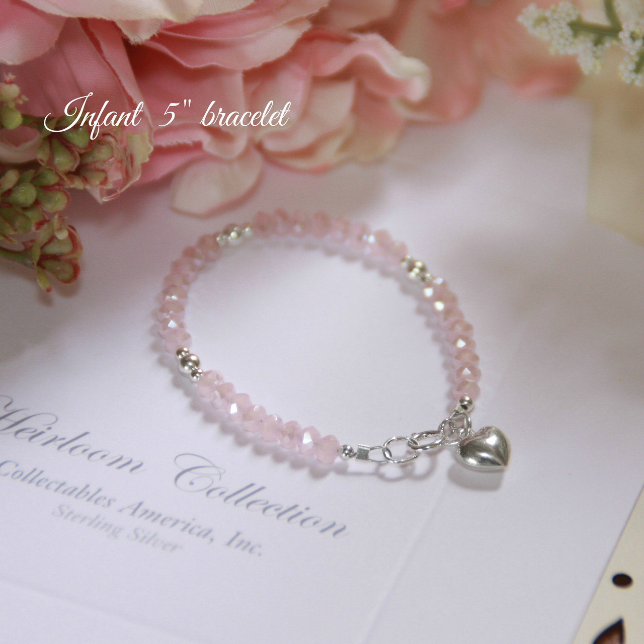 "STG-24HT  Matte Pink Crystals and Sterling Silver Puff Heart 5"" Bracelet"