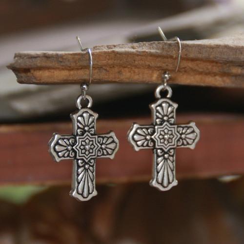 IN-66  Patterned Cross Earrings