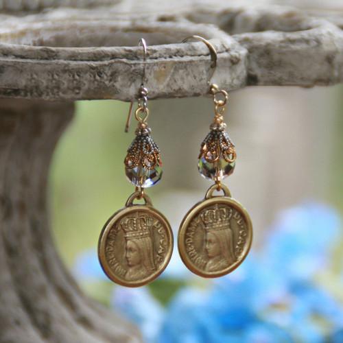 IN-68 Vintage Mary Medal Stunning Earrings