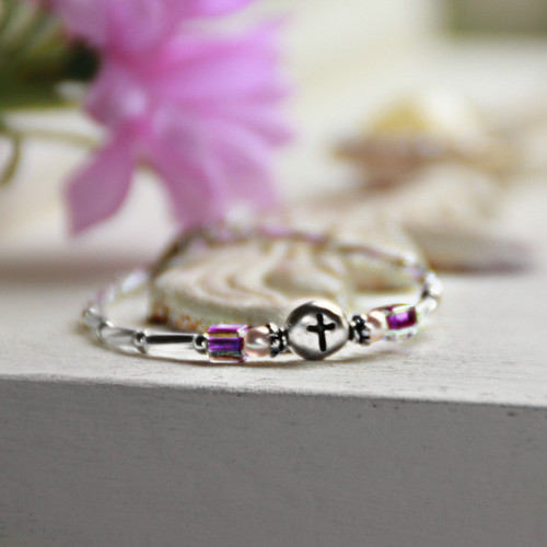 "CJ-515  Sweet and Sassy Cross Bracelet 5"" with Purple Accents"