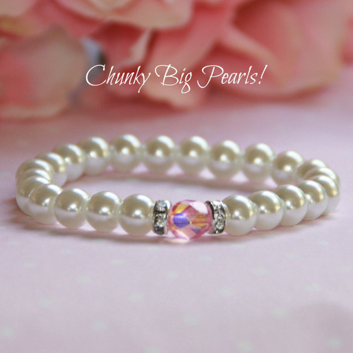 CJ-521-5  Chunky BIG Pearls Bracelet with Center Pink Crystal
