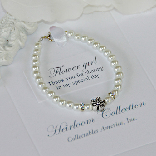 CJ-530-6  Flower Girls Pearl Bracelet 6""
