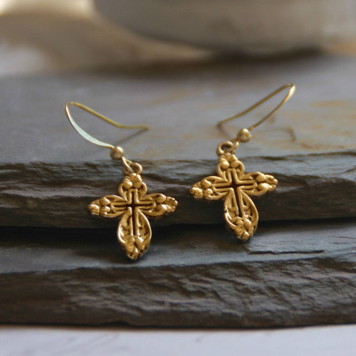 IN-1  Openwork Classic Cross Earrings Gold Finish