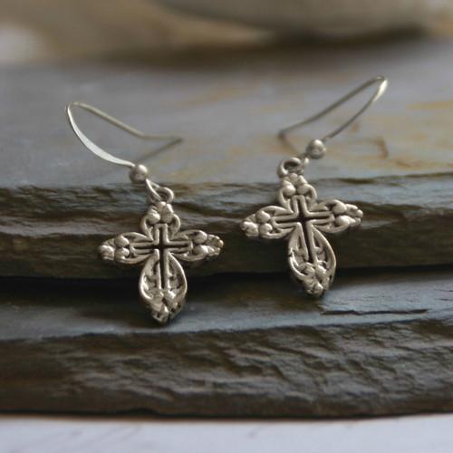 IN-1s  Openwork Classic Cross Earrings Silver Finish