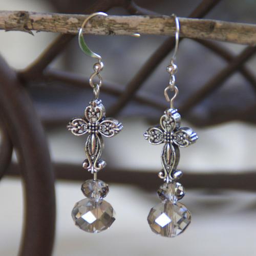 IN-705 Platinum Crystal Cross Earrings
