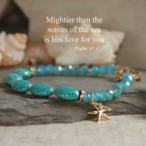 IN-208  Waves of the Sea Psalm 93:4 Starfish Bracelet