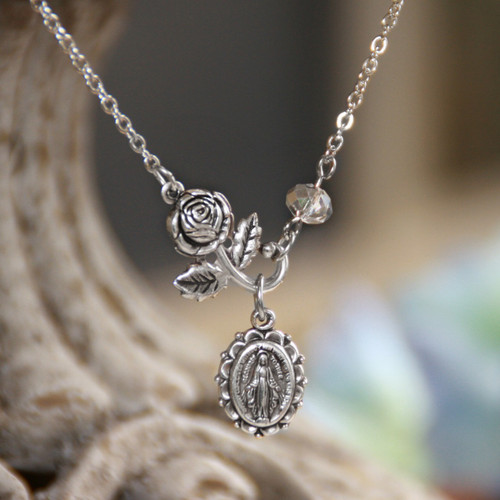 IN-556  Rose and Mother Mary Necklace
