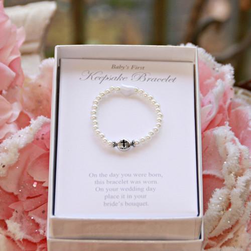 CJ-538  Top Selling Baby's First Keepsake Bracelet Glass Pearls