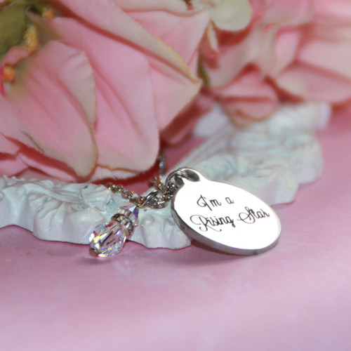 CJ-542  Rising Star Disk Necklace Engravable space on back for Engraving