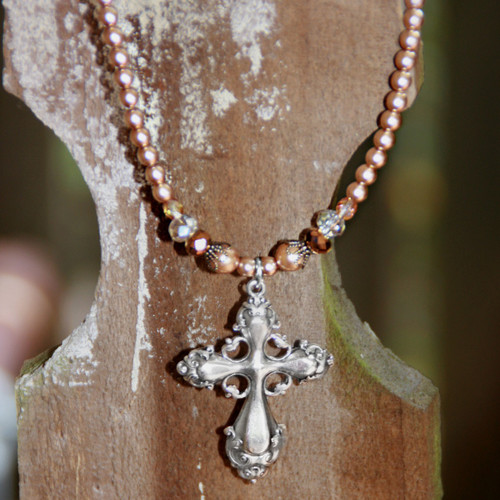 IS-235  Sophisticated Cross Necklace with Fine Glass Pearls