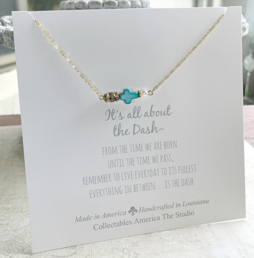 DA-3  Cross Bead and a Pearl All about the Dash Necklace