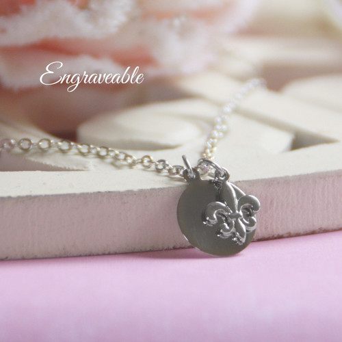 EG-6  Engraveable Stainless Disk with Fleur de Lis Necklace