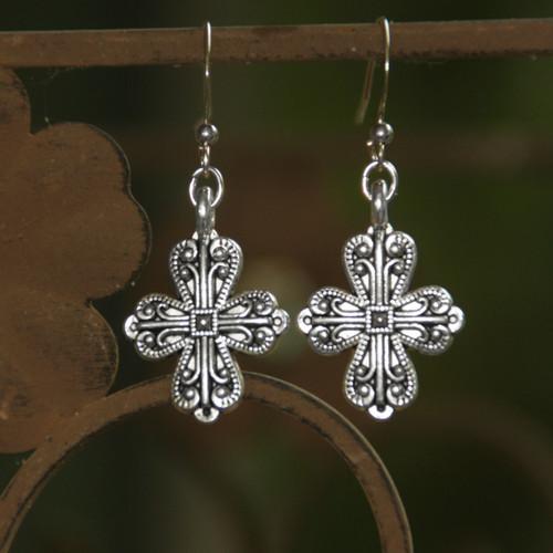 IN-76  Beautiful Scrollwork Cross Earrings