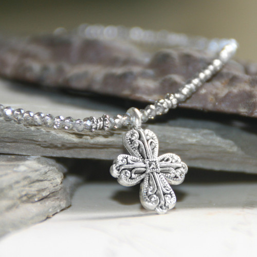 IS-33PLAT  Beaded Cross Necklace Platinum Crystals