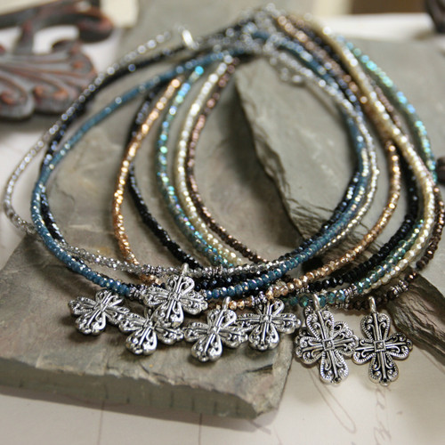 IS-33TOPZ  Topaz Crystal Beaded Cross Necklace