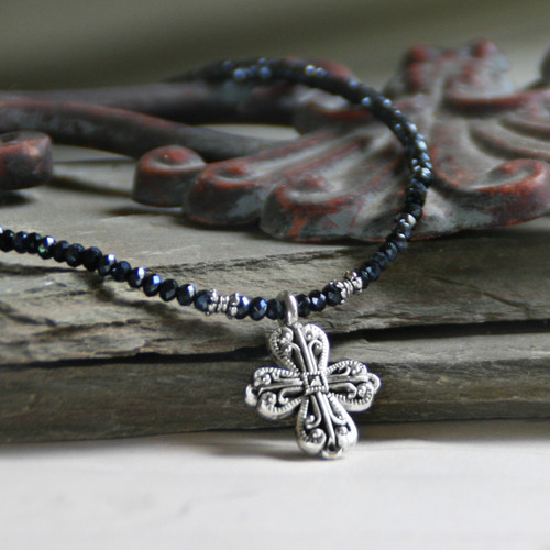 IS-33HEM  Hematite Crystal Beaded Cross Necklace