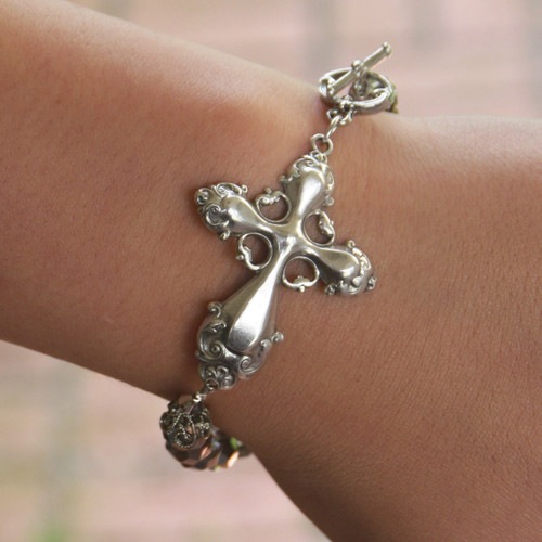 BR-12  Gorgeous Cross and Platinum Beaded Bracelet with Toggle