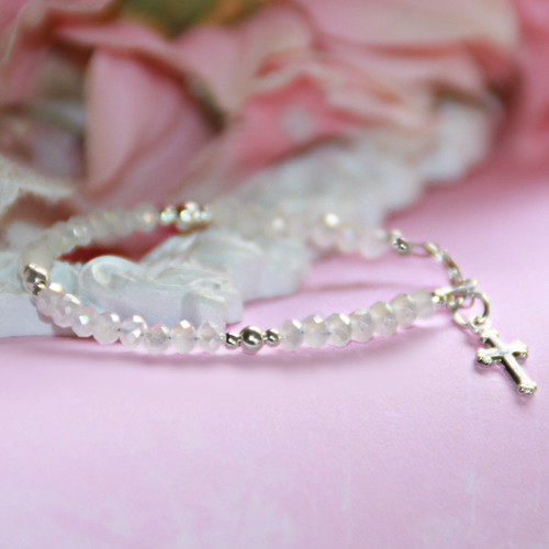 """STG-3CR  Matte White Crystals and Sterling Silver Beautiful Infant 4 1/2"""" Bracelet with Cross Charm"""