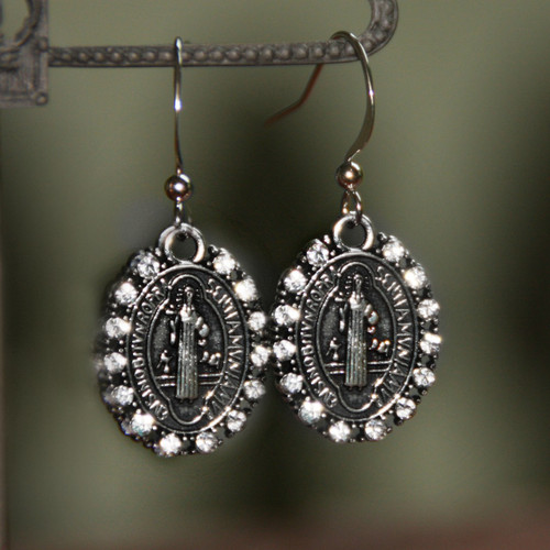 IN-80  St. Benedict Crystal Swarovski Earrings