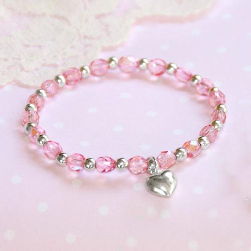"""STG-239  Pink Crystals AB """"Stretchy"""" 5"""" Bracelet Sterling Silver"""
