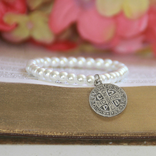"RH-62-5  Glass Pearls Stretchy 5"" bracelet with Vintage St. Benedict Medal in Rhodium for Baby"