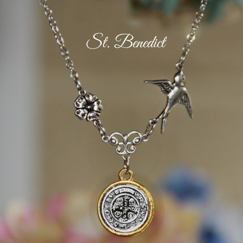 IN-571  St. Benedict Bird Stylish Necklace