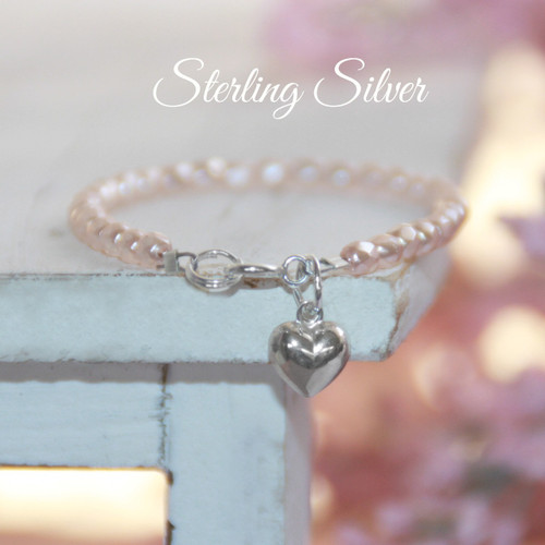 """STG-73HT  Sterling Silver Heart and Faceted Glass Pink Pearls 5"""" Bracelet"""