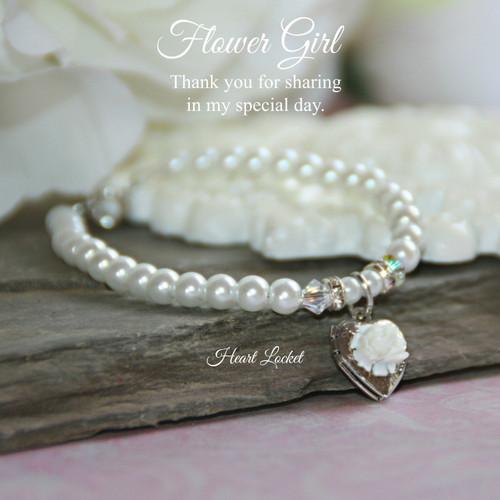 """CJ-160-6  Flower Gril 6"""" Bracelet with Heart Locket"""