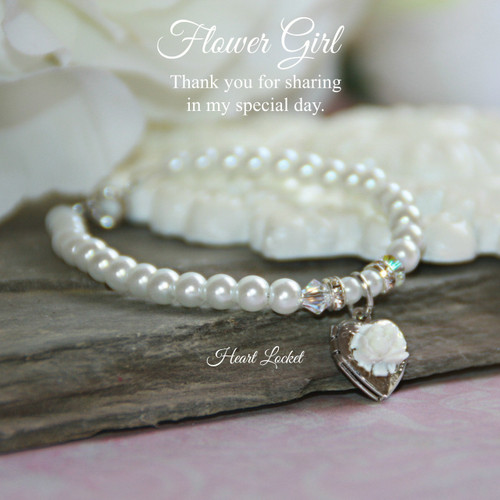 "CJ-160-5   Flower Girl 5"" Bracelet with Locket"