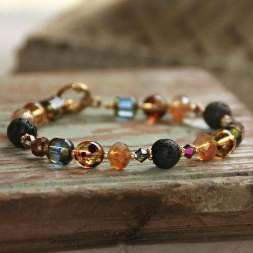 BR-36  Essential Oil Diffuser Bracelet Multi colors with Lava Stone