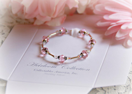 """STG-264 Sterling Silver Pink Crystals Baby Bracelet 5"""""""