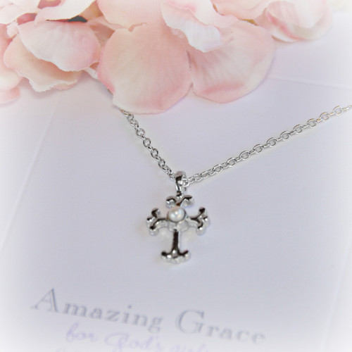 GG-2 Amazing Grace Cross with Pearl Necklace