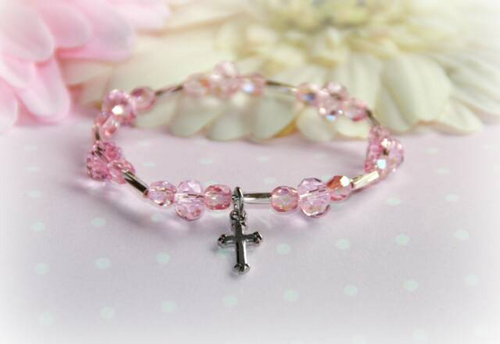 CJ-499CR Pink Crystal Baby Bracelet with Cross 5""