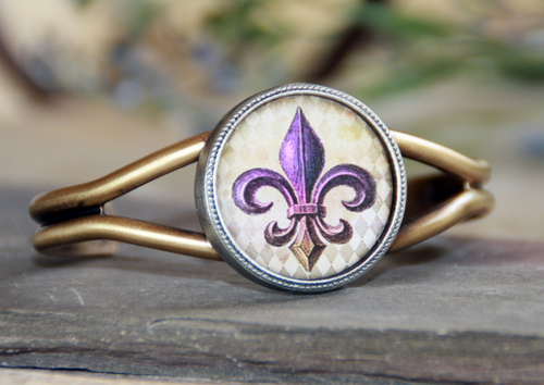 ART-122 Purple & Gold Fleur de Lis ART Cuff Bracelet