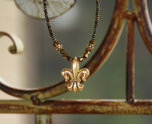 NCK-88 Fleur de Lis Gold and Brown Beaded Necklace
