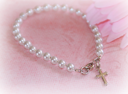 "CJ-429 Baby Bracelet Glass Pearls Infant size 4 1/2"" Rhodium finish"