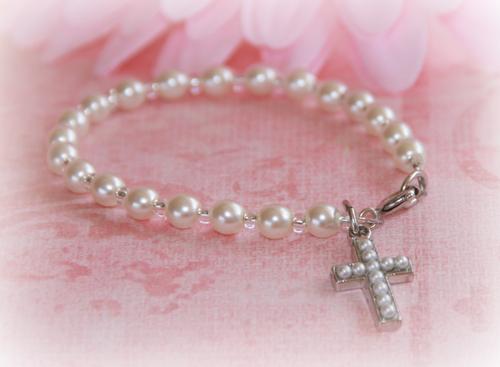 """CJ-358-5 Baby Seed Pearl Cross Bracelet 5"""""""