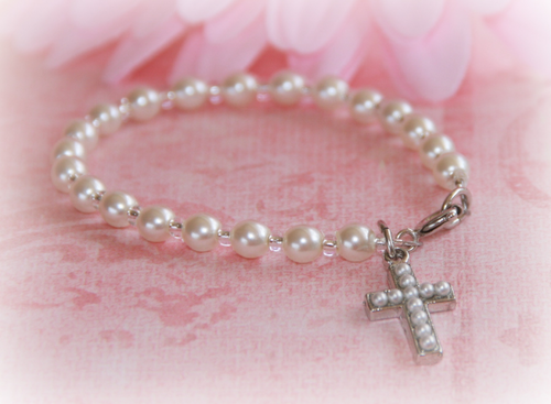 CJ-358-6 Child Seed Pearl Cross Bracelet 6""