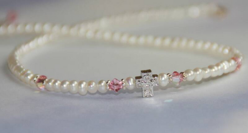 STG-153N Freshwater Pearls Pink Crystal and Cross Necklace