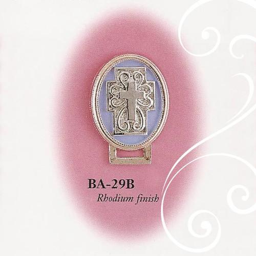 BA-29B Oval Cross Enamel Blue and Silver Paci Holder