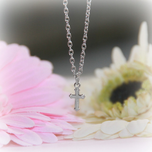 RH-9  Rhodium Cross Necklace