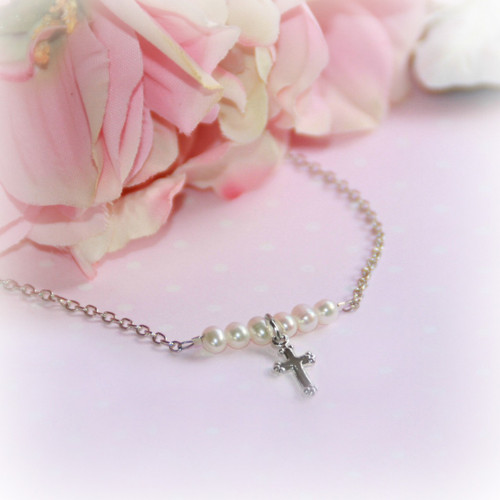 RH-16  Rhodium Cross with Freshwater Pearls Necklace