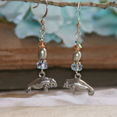 OC-35  Manatee Earrings