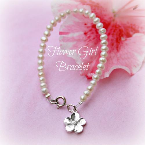 """CJ-449  Flower Girl Freshwater Pearl Bracelet 6"""""""