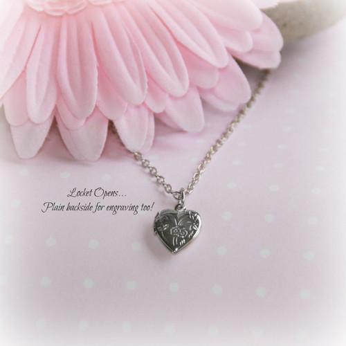 RH-12  Heart Locket Necklace Rhodium