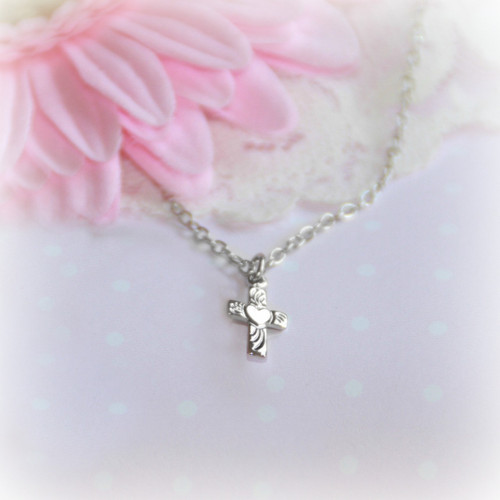 RH-35  Sweetheart Cross Rhodium Necklace