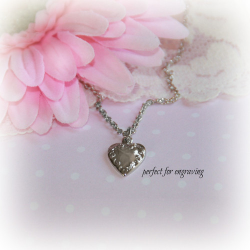 RH-36  Heart Rhodium Necklace