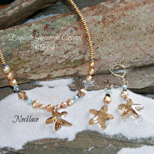 OC-54  Swarovski Starfish Necklace Fabulous!