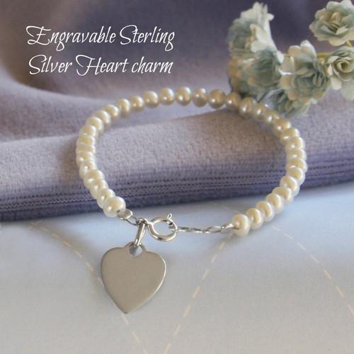 "STG-251  Engraveable Sterling Silver Freshwater Pearl Bracelet 6"""